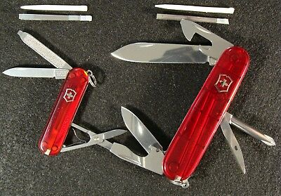 Victorinox Lot of 2 Tinker & Classic Ruby Color Swiss Army Knife Set 91&58mm