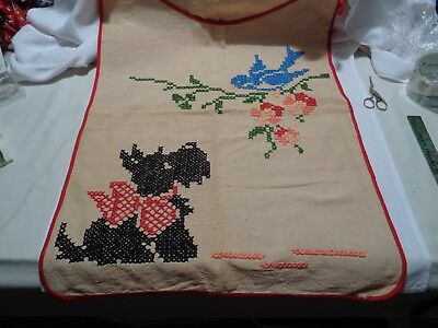 vintage scottie dog laundry bag large heavy linen like cloth with x stitching