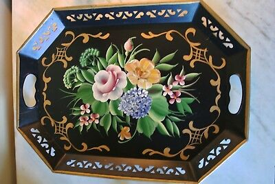 vintage pilgrim art hand painted metal tray #148 black floral toleware antique