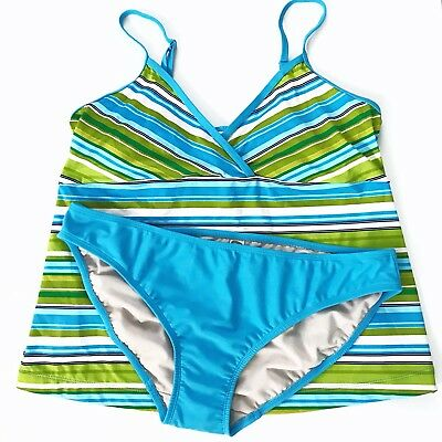 Old Navy Maternity Tankini Swim Suit Size M Blue Green Striped Two Piece