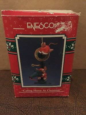 """Enesco """"Calling Home at Christmas"""" Mice on Candlestick Phone Ornament 1990"""