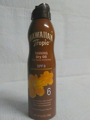 Hawaiian Tropic Spf 6 Dry Tanning Oil Clear Spray Sunscreen 5.5 Oz Water Resist