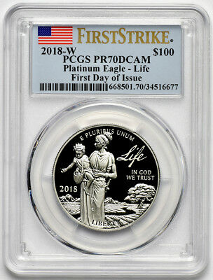 2018 W 1oz $100 Proof Platinum American Eagle, Life, PCGS PR70 DCAM First Strike