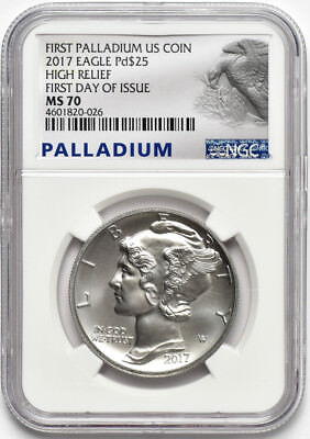 2017 $25 High Relief 1oz Palladium American Eagle NGC MS 70 First Day of Issue