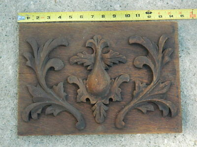 "Antique 19th Century Carved Oak Wooden Decorative Panel 14+1/2"" x 10"""
