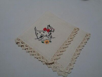 vintage single lovely black scottie dog embroidered linen napkin crocheted edge
