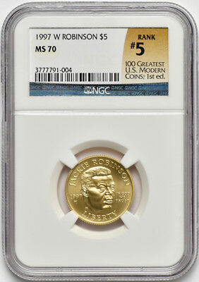 1997 W $5 Gold Jackie Robinson Commemorative NGC MS 70 MS70