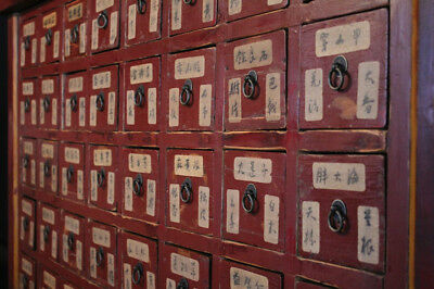 Antique Chinese Apothecary Old Red Medicine Cabinet  Storage Herb Drawers