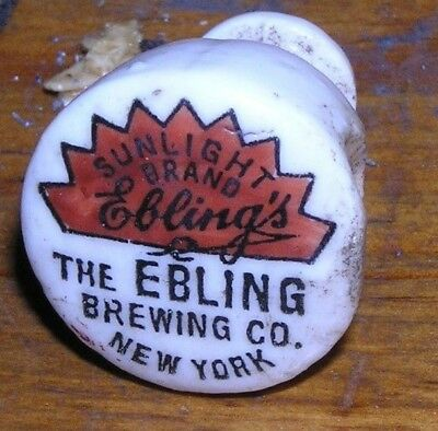 Antique sun light brand  Ebling brewing co. Ny  New York Cap Top Beer 1893 pat.