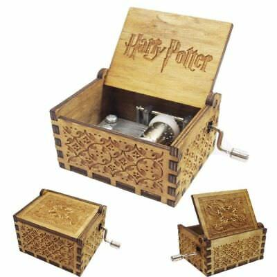 Tiny Music Box for Harry Potter Fans Engraved Wooden Hand-cranked Toys Gifts