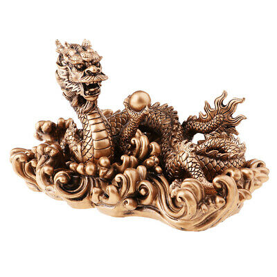 Chinese Antique Resin Gold/Copper Lucky Dragon Model Statue Collection Craft