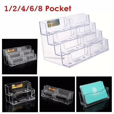 1/2/4/6/8 Pocket Business ID Card Holder Desk Stand Display Desktop Office Shelf