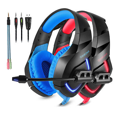 ONIKUMA K1 Gaming Headset LED Headband Luminous Headphones + Microphone Mic