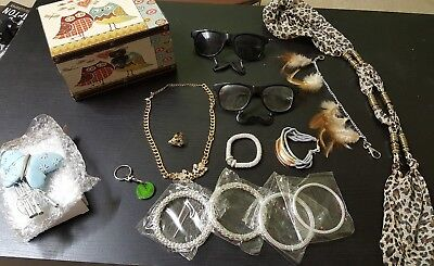 Accessories bundle - bracelet, necklace, glasses, jewellery box, windchime