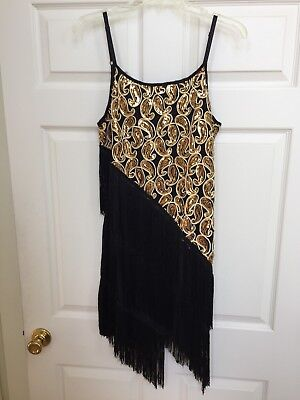 Vintage ANGVNS  One of a Kind Gold Sequins Black Sexy Flapper Dress Sz XL  NWT