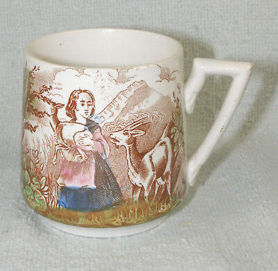 1890s FRENCH Polychrome & Transfer Pottery Child's Cup - Goat Herders