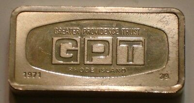 1000 Grain Silver Bar GREATER PROVIDENCE TRUST Rhode Island FRANKLIN MINT