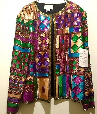 Vintage 80's Cache Colorful Sequin Beads Silk Embroidered Evening Jacket Large!!