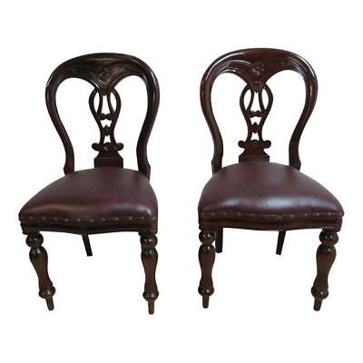 2 Antique French Regency Mahogany Carved balloon back dining room desk chairs C