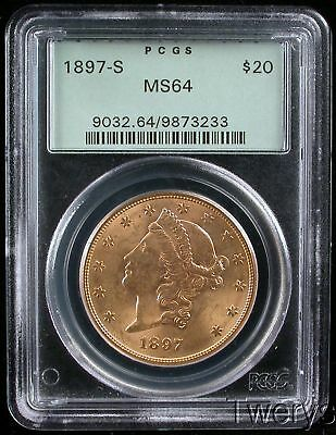 1897-S Liberty Head Gold $20 Double Eagle Pcgs Ms 64 Old Green Holder