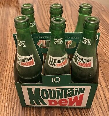 Vintage Six Mountain Dew 10 Ounce Bottles With Cardboard Carrier