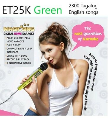 New MAGIC SING ET-25K karaoke 2300 Tagalog English Songs Bag Binder green Mic