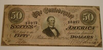 Crisp CU 1864 $50 Fifty Dollar CSA Confederate States Of AMERICA scarce HI GRADE