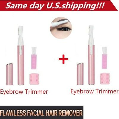 2 pcs Flawless Women Painless Hair Eyebrow Trimmer Razor Removal Razor Blade USA
