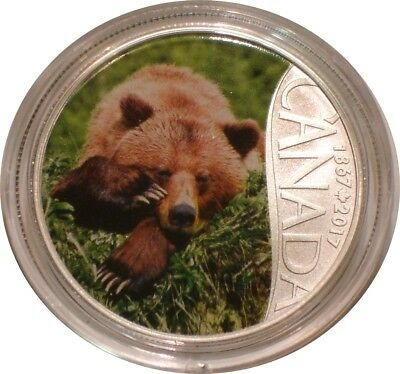 2017 Silver $10 Ten Dollars Canada GRIZZLY BEAR Gem BU w/ COA Canada's 150th