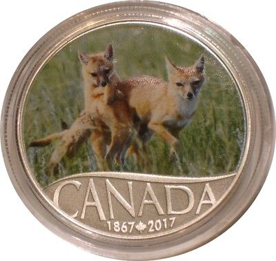 2017 Silver $10 Ten Dollars Canada WILD SWIFT FOX AND PUPS Gem BU w/ COA