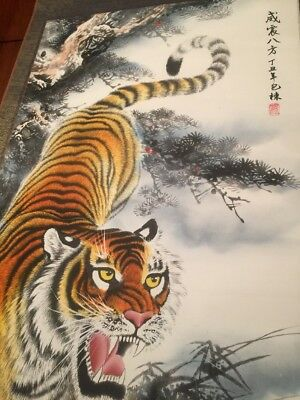 Chinese Japanese Scroll Painting Tiger Signed Red Seal Silk Asian #2 of 2