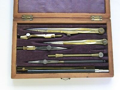 Antique Set Of Drafting Tools In Fitted Wooden Case