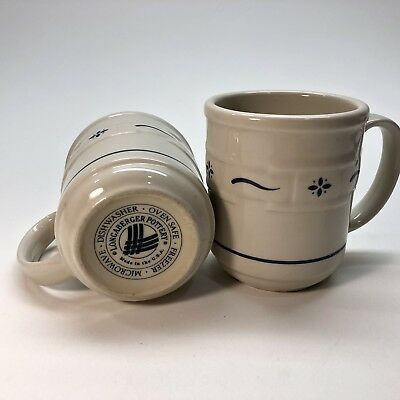 Set of 2 Longaberger Pottery Woven Traditions Heritage Green Coffee Mugs