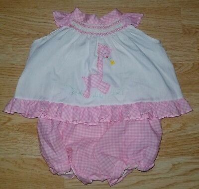 Vintage Samara 2T swing crop top bloomers outfit pink gingham giraffe smocking