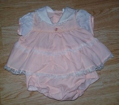 Vintage Cradle Togs girls 3-6 6 months pastel peach shirt bloomers outfit 2 pc