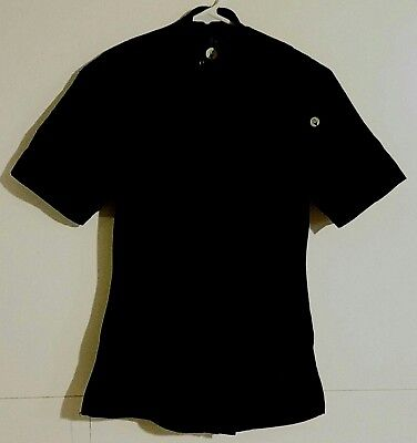 Chef Works Womens Top Size XS Black Kitchen Uniform Front Zip