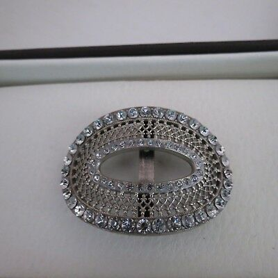 Fabulous French silver tone oval metal buckle with diamantes