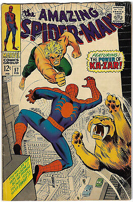 """1968. """"The AMAZING SPIDERMAN"""". Marvel comic Vol.1 #57. Silver Age. VG."""