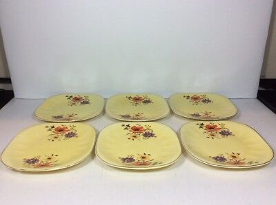 6pc Set Limoges American China Golden Glow Square Salad Bread Dessert Plates 6""