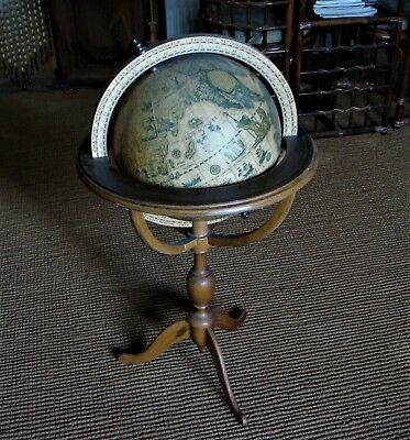 World   Globe, Early  Reproduction, Wood  Stand