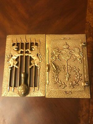 Antique Brass Lions-Speakeasy peep hole box and door  knocker 2 Sets