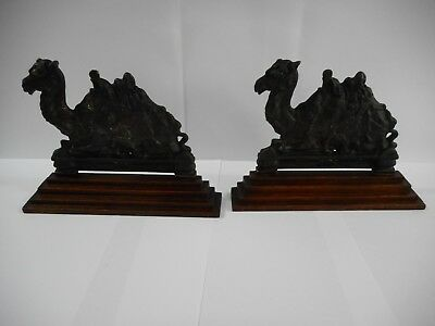 Antique Art Deco Bronze Camels On Timber Bookends