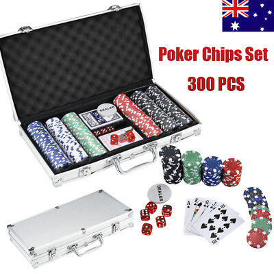 300 Casino Poker Chips Set Texas Hold Em Black Jack Playing Cards Game Case Fun