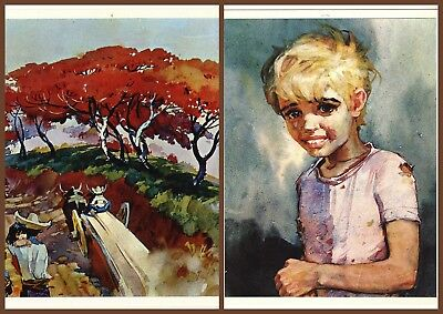 LOT of 2 pcs Argentina Argentine Children Kids Boy Girl Soviet Postard Rare