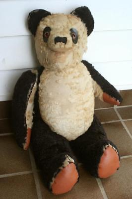 Vintage PANDA TEDDY BEAR -Growler(missing), Aticulated, Wood Wool Stuffing,55cms