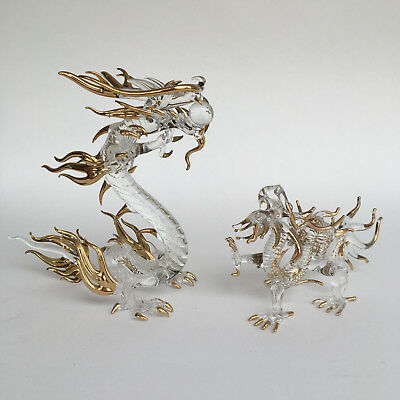 2x Set Chinese Lucky Item Dragon Glass Golden Hand Painted Home Office Decor