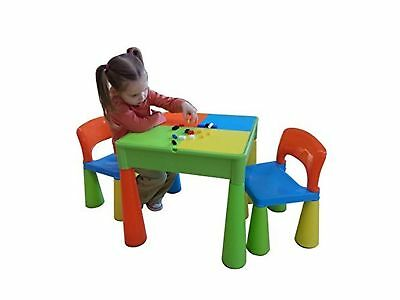 Liberty House Toys 5-in-1 Activity Table and Chairs with Writing Top/Lego/San...