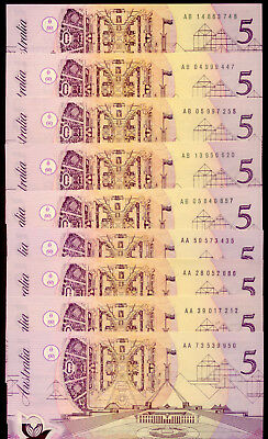 9 x $5 NOTES  AA and AB NOTES: FRASER & COLE    aUNC   ++  NO  RESERVE !!!!