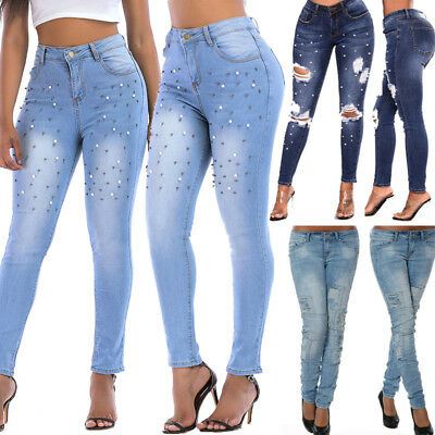 FASHION WOMEN LADIES HIGH WAISTED Denim SKINNY JEANS JEGGING Stretch Long Pants