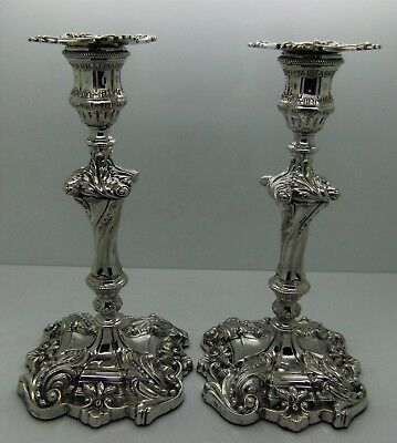 Pair of STERLING silver ROCOCO  CANDLESTICKS. Sansom & Harwood, SHEFFIELD 1830